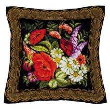 1642 Подушка панно Жостовская роспись