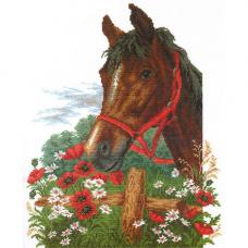 761 Набор для вышивания 'РС-Студия' 'Лошадь в маках', 33*43 см