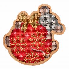 ИК-015 Набор для вышивания крестом на основе 'Созвездие' Новогодняя игрушка 'Озорной мышонок' 9*9,5см