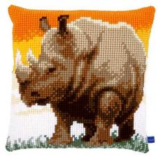 PN-0150197 VERVACO Набор для вышивания подушка 'Африканский носорог' 40х40 см