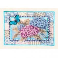 PN-0145007 Набор для вышивания Vervaco 'Почтовая марка с гортензией' 21*15см