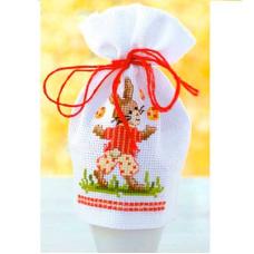 PN-0144388 Набор для вышивания чехол для пасахального яйца Vervaco 'Пасхальный кролик' 9*12см