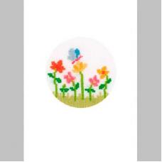 2050-12113 Набор для вышивания открытка и конверт Vervaco 'Бабочка и цветы' 10,5*15см