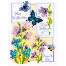 PN-0146579 Набор для вышивания Vervaco 'Синие бабочки и колокольчики' 19*26см