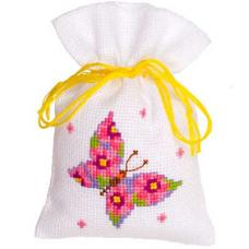 PN-0146852 Набор для вышивания Vervaco саше 'Розовая бабочка' 8*12см