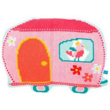 PN-0154489 VERVACO Набор для вышивания подушка фигурная 'Домик на колесах' 52х37 см